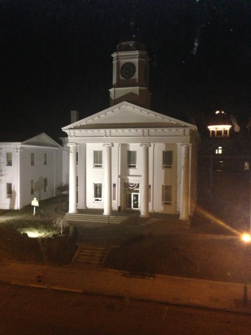 View of the Lafayette County Courthouse from a top floor window.
