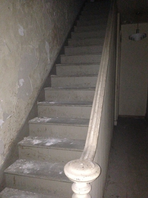 A staircase from MOSS's most recent investigation of a 144 year old building in Lexington, Missouri. This staircase is on a second floor landing and leads to a third floor apartment. Both of these floors are above a pizza place and for the most part have not been touched or occupied since approximately 1982.