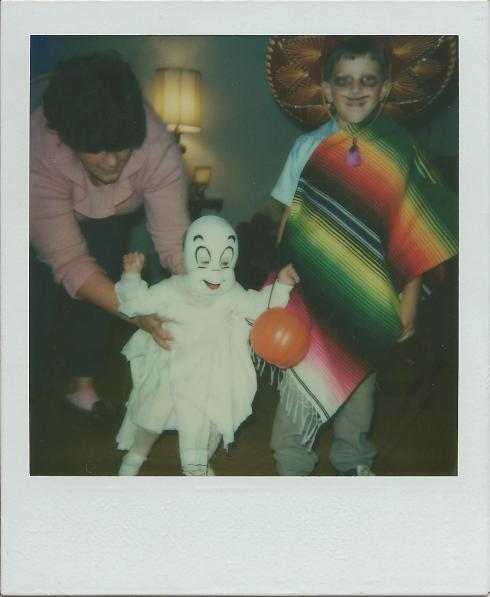"I love this photo. My sister was Casper and this was her first (and probably last) Halloween trick-or-treat experience. As my mom explained on the back of this photo, ""Patrick is a Mexican."" Don't ask..."