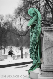 Sad Bronze Angel in the Snow, Bellefontaine Cemetary, St. Louis