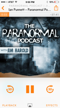 Listening to The Paranormal Podcast with Jim Harold on my Overcast App!