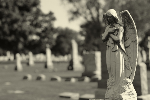 cemetery black and white angel